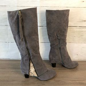 Shoes - New Cute Grey Zip Up Riding Boots - Size 8